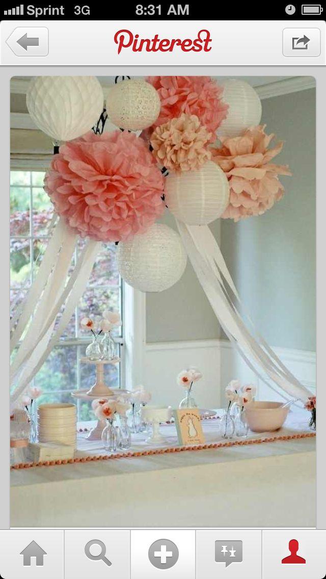 Loverly party decor .. Cluster of lanterns n tissue pompoms
