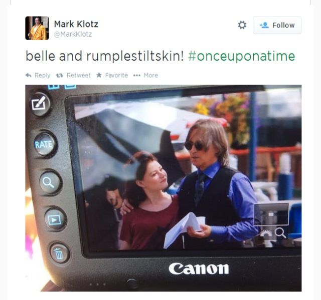 Emilie and Robert on set