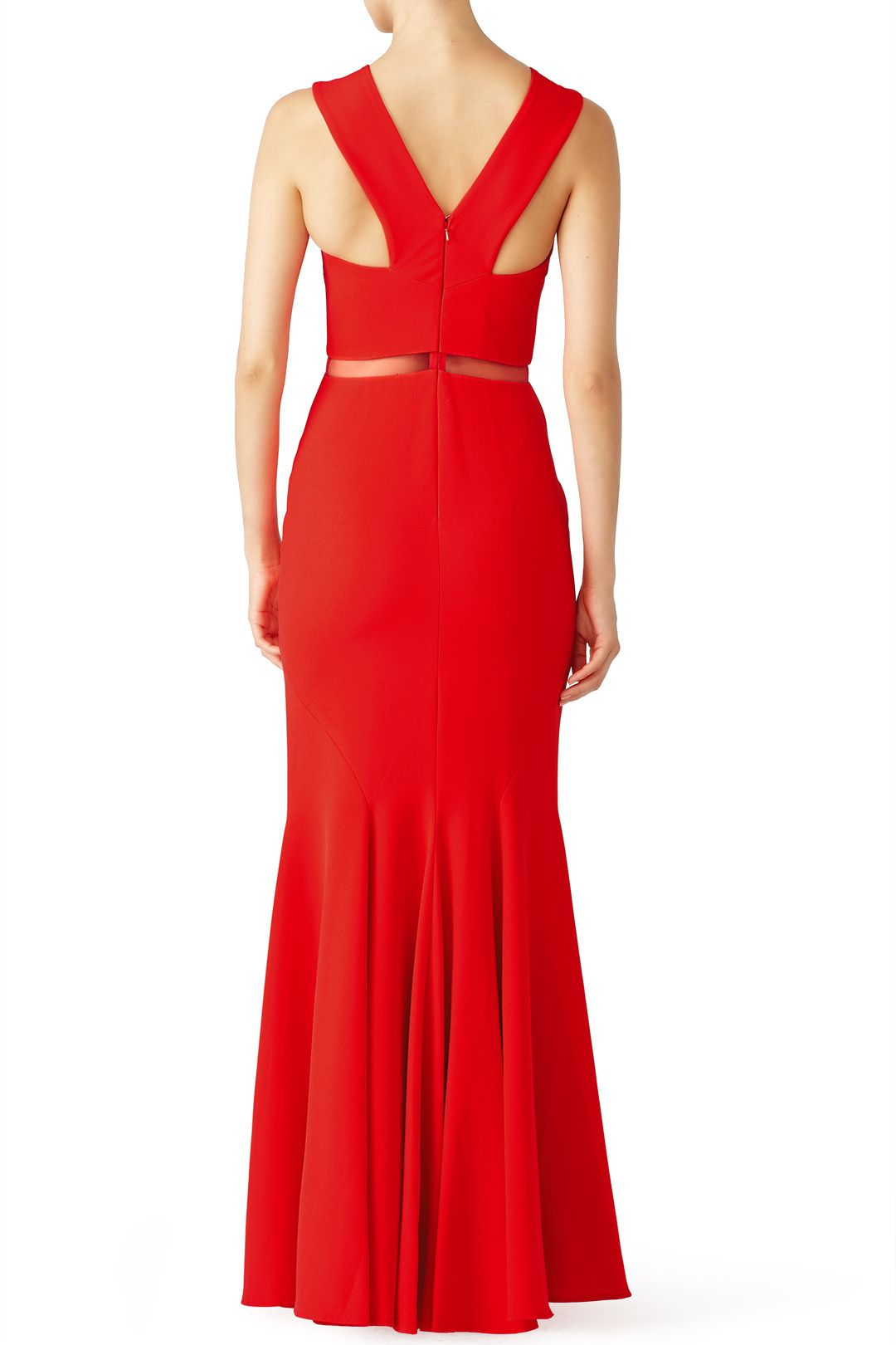 Red chevron cutout gown gowns designers and shopping