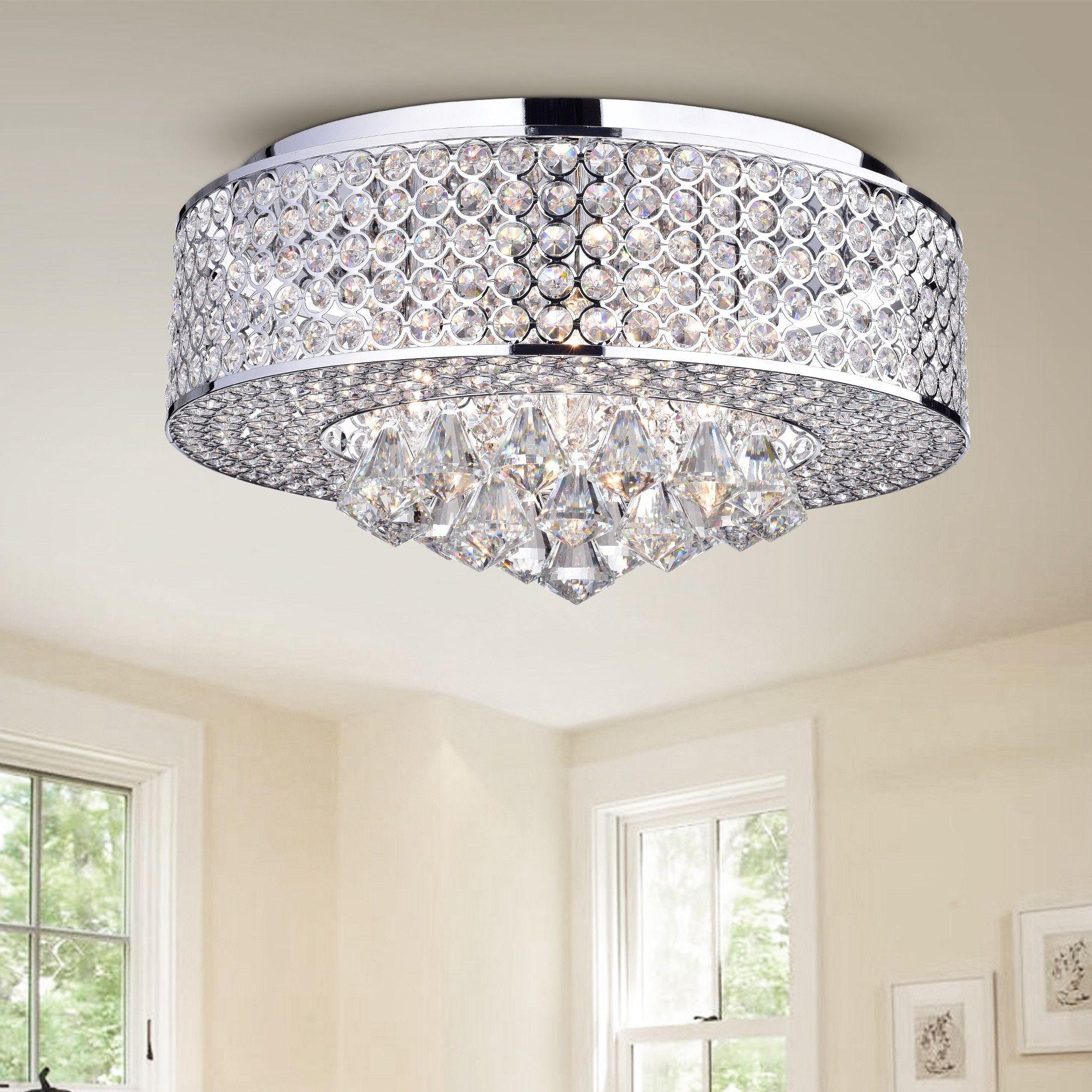 Warehouse of tiffany wendu chrome inch round crystal lamp chrome