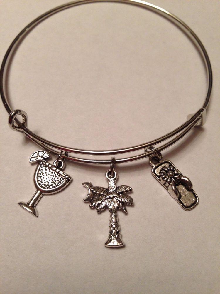 Silver Tone Vacation Bracelet Myrtle Beach Sc Your Choice Alex Ani Style