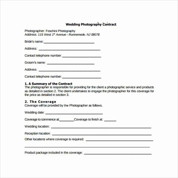 Free Wedding Photography Contract Template Fresh 14 ...
