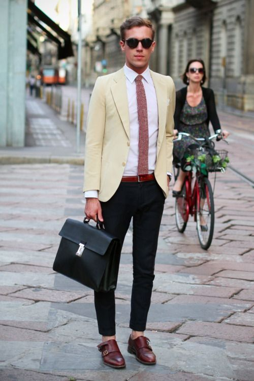 Prada Saffiano Briefcase Vintage Jacket And Shirt Gordon Double Monk By Street Spitfire Shades This Is The Way Of Wearing Strap Shoes Focus On Length