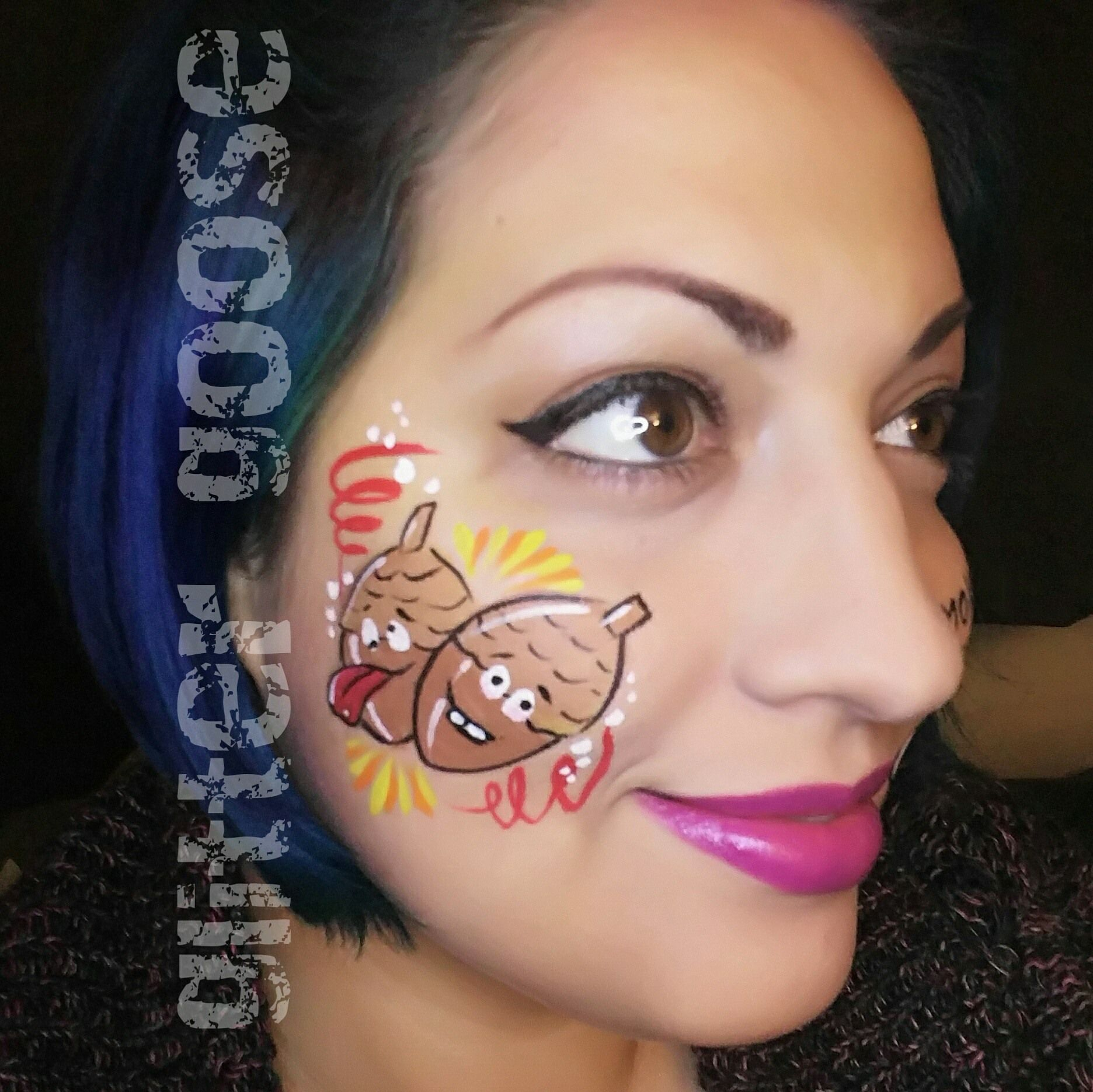 Crazy Acorns Face Painting By Glitter Goose Quick And Easy Thanksgiving Face Paint Ideas Acorn Art Autumn Fall Holiday Fast Fun Ghianda