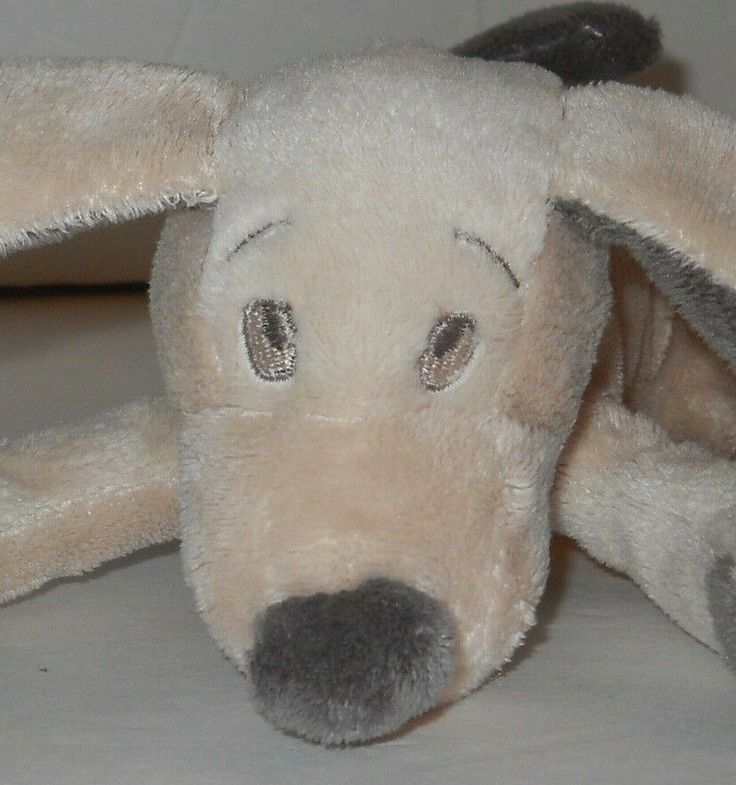Cream Gray Puppy Dog Plush Stuffed Sewn Eyes 10