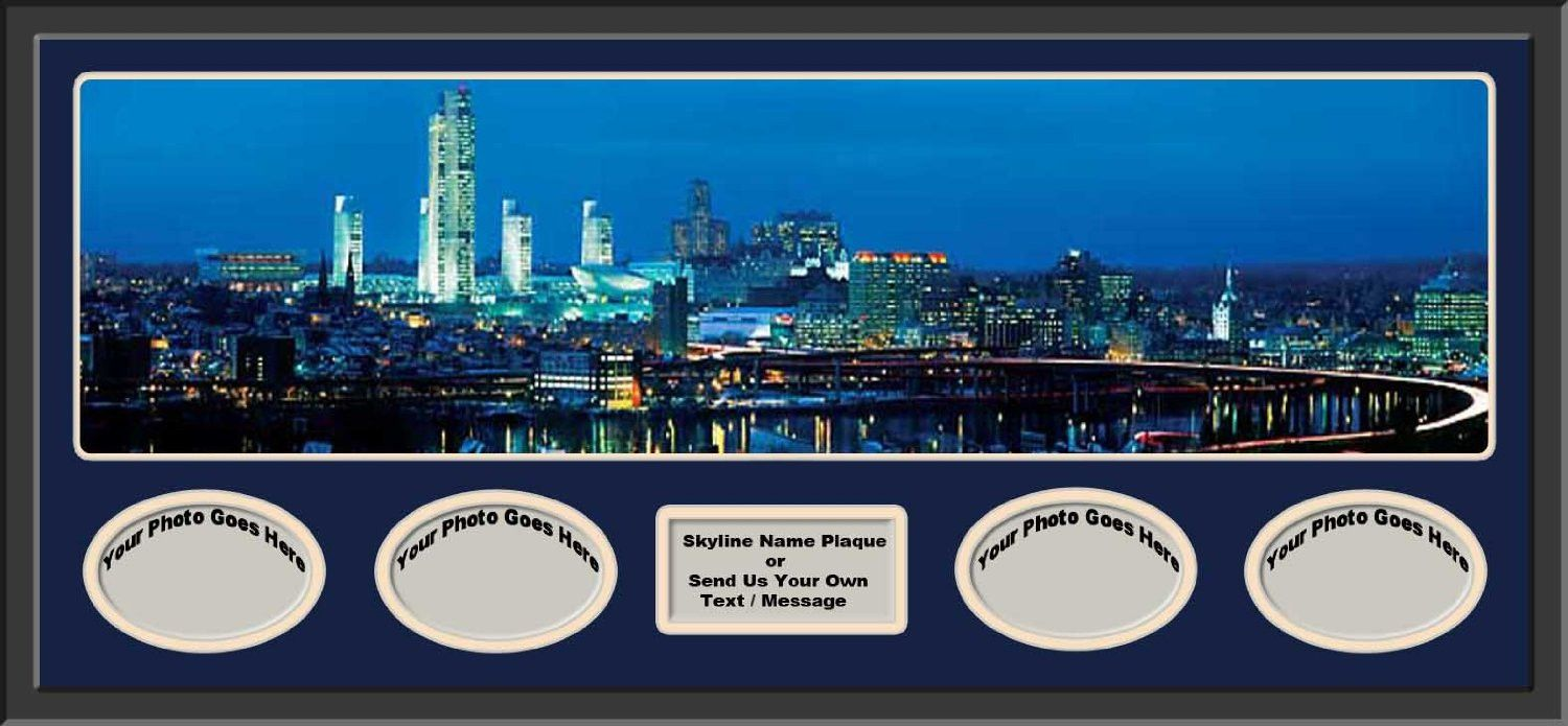 Albany New York US Skyline Panoramic Comes With 1 1/2 Inch Black Leather Frame-D/Matted W/4 Photos Opening-N/Plaque - Large Framed Picture - Awesome and Beautiful! This Is a Must for Any Home or Office Decor!