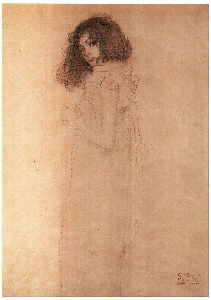 Retrato de joven dama (inacabado). Gustav Klint.