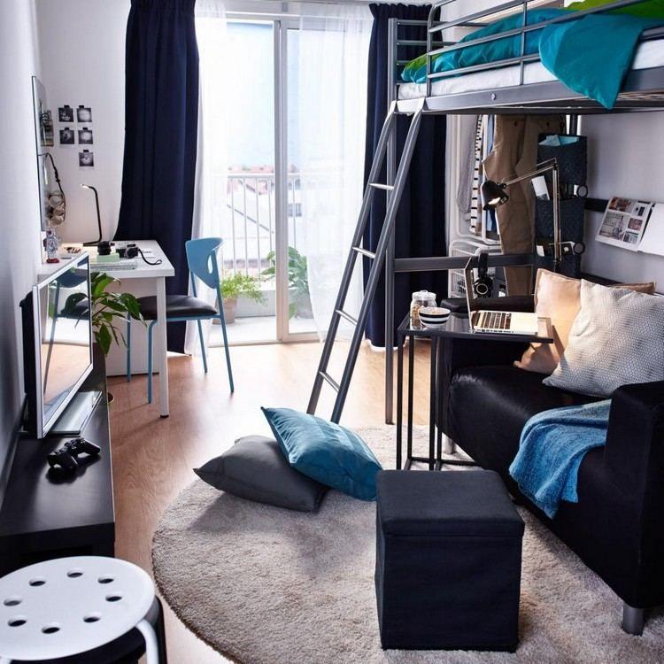 Studentenzimmer Mit Hochbett Für Männer In Dunklen Tönen