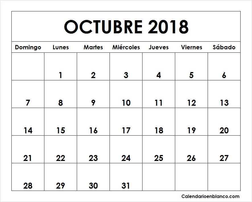 Calendario Octubre 2018 Para imprimir | CALENDARIO | Pinterest ...