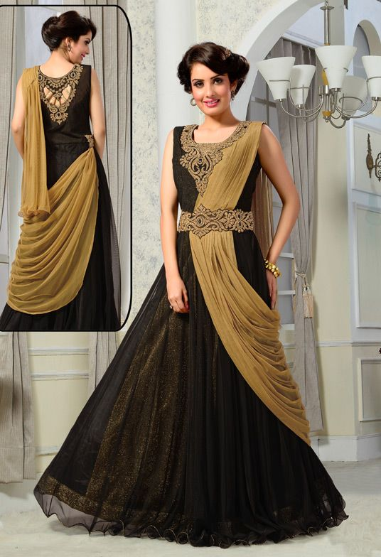 17845 Black Net Designer Party Wear Gown 56131 The Elegant