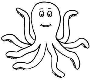 Happy Octopus Sea Animals Coloring Page 300x263 (