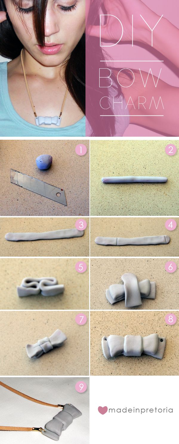 Simple clay bow necklace