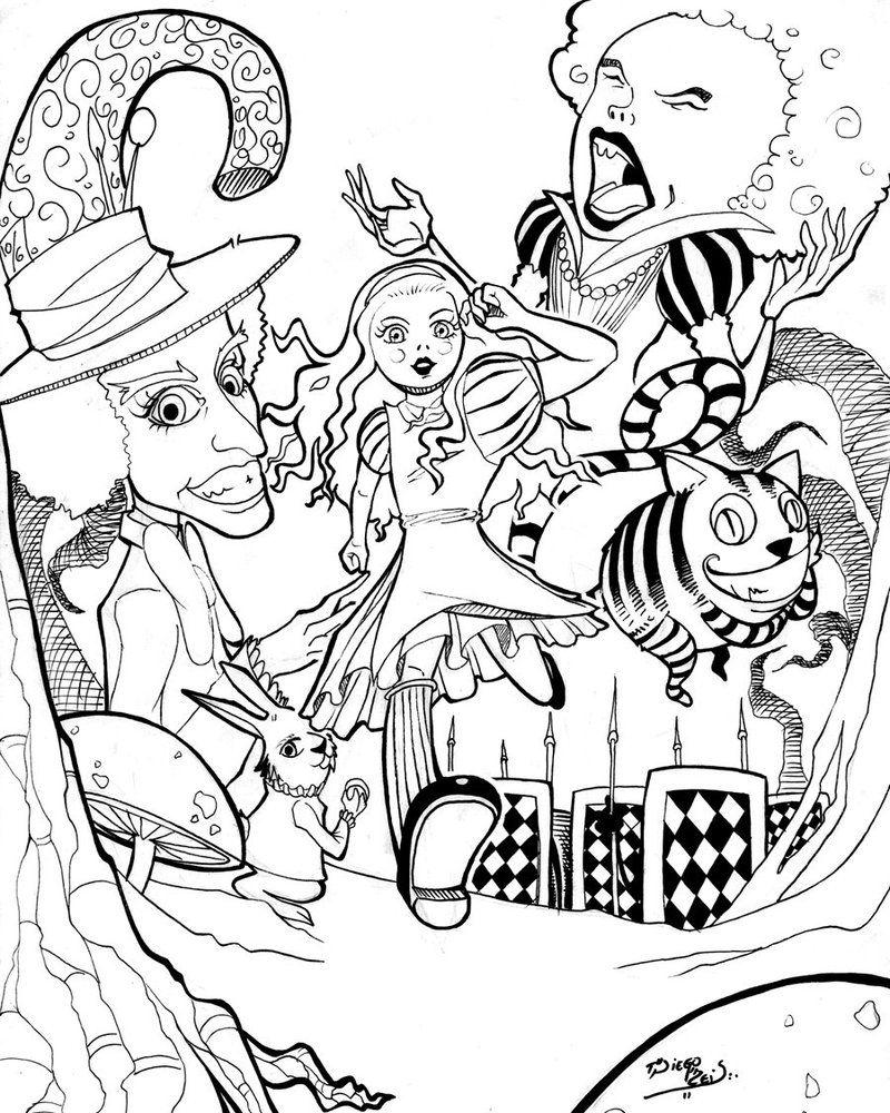 Alice In Wonderland By Reis Art On Deviantart Cartoon Coloring Pages Coloring Pages Alice In Wonderland Poster