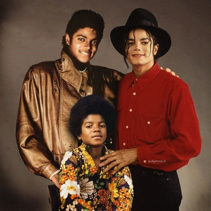 Artista photoshopa celebridades ao lado de versões mais jovens delas mesmas #michaeljackson