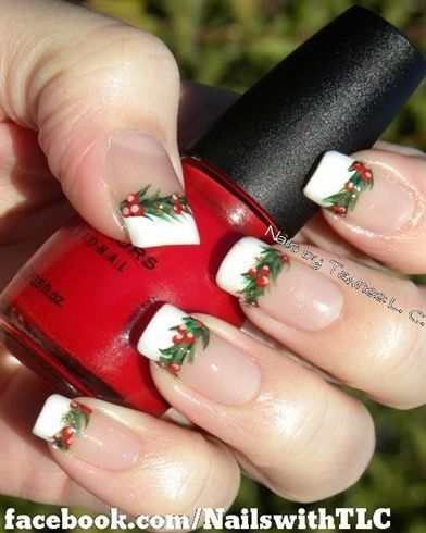 Christmas Holly Nails French Manicure Style Nails Pinterest