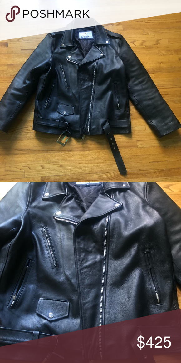 5708800444f59 Men's black leather jacket This rider style leather jacket has only been  worn once. Zero defects. Smoke free home. Jackets & Coats