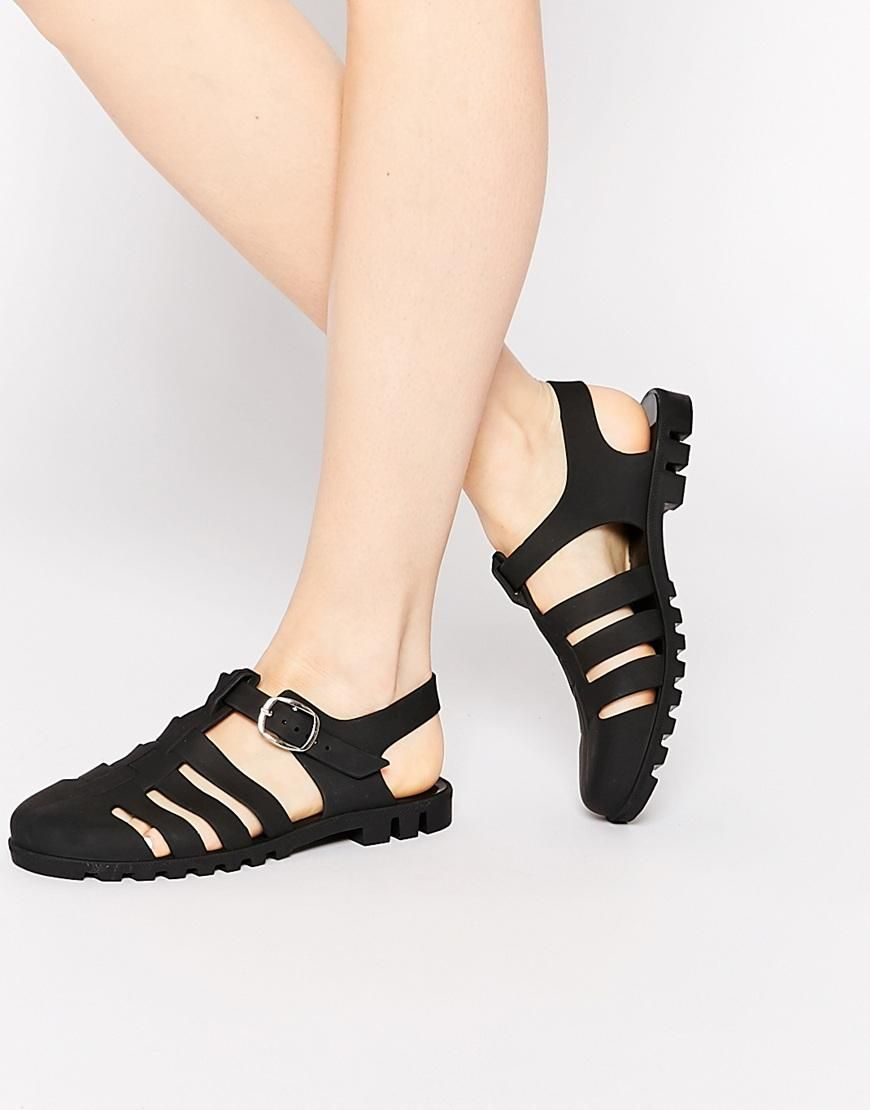 efa3f9713352 Matte Black Jelly Gladiator Sandals at ASOS