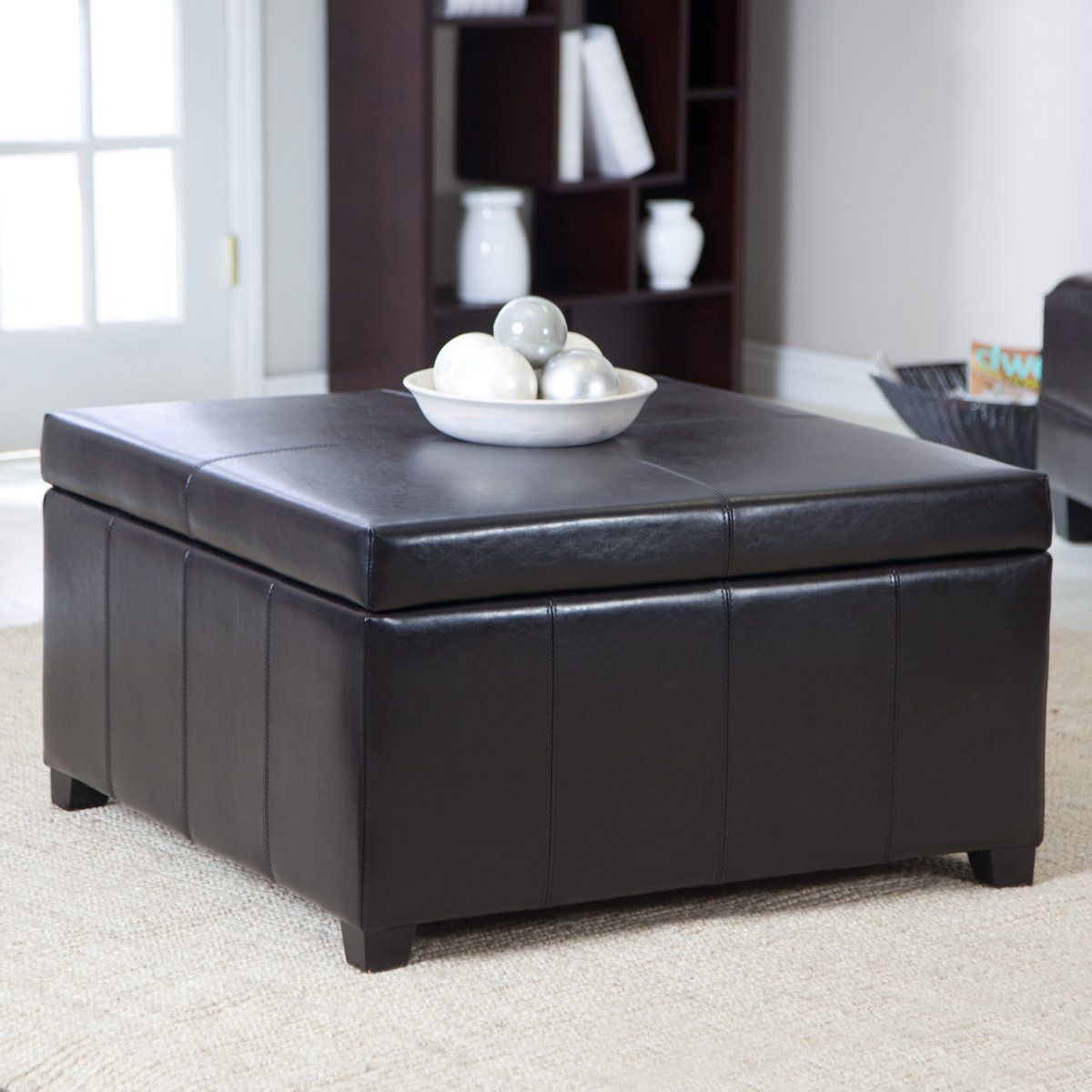 Round Coffee Tables Cape Town: Cape Town Large Leather Storage Ottoman