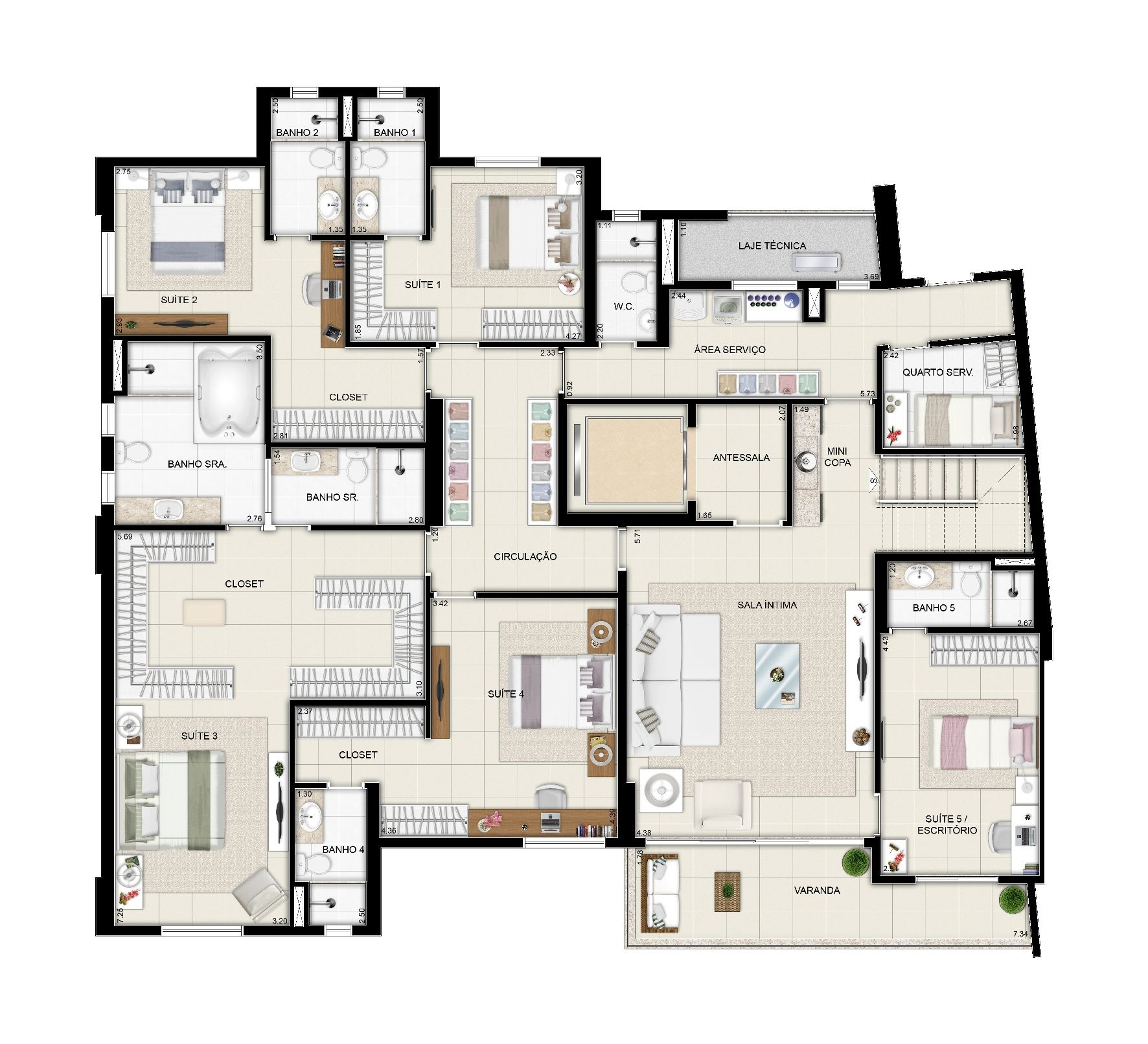 Planta Duplex Inferior Torre Parc Final 01 Lr 114529 G Jpg 1772 1612 Hotel Room Plan Floor Plans House Plans