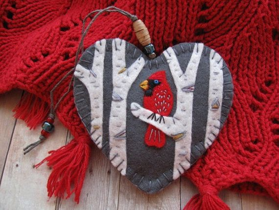 Cardinal in Birch Ornament by SandhraLee on Etsy