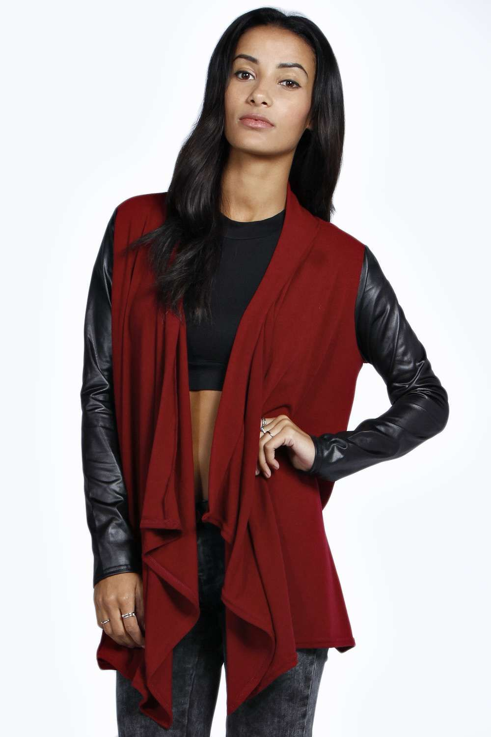Boohoo Carla Pu Sleeve Waterfall Cardigan - wine on Vein - getVein ...