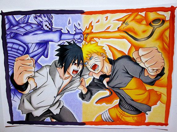 Naruto Vs Sasuke Final Battle Original Drawing By Hideakiart With