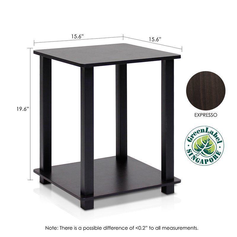 2 Piece Side Table Set Black Oak Shelf Wood Living Room Hallway Office Furniture