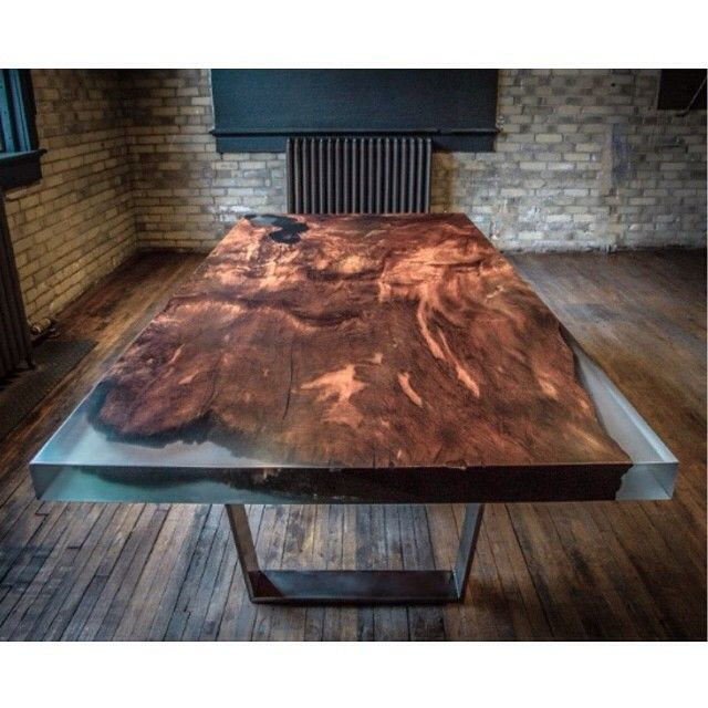 Epoxy live edge table via slvdr brand design for Diy river table