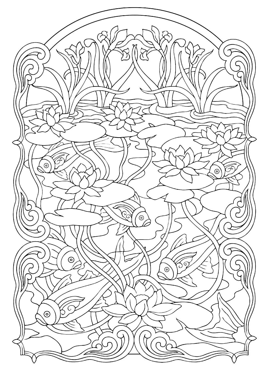 Gratis para colorear colorear-adulto-estanque. Lindo dibujo de peces ...