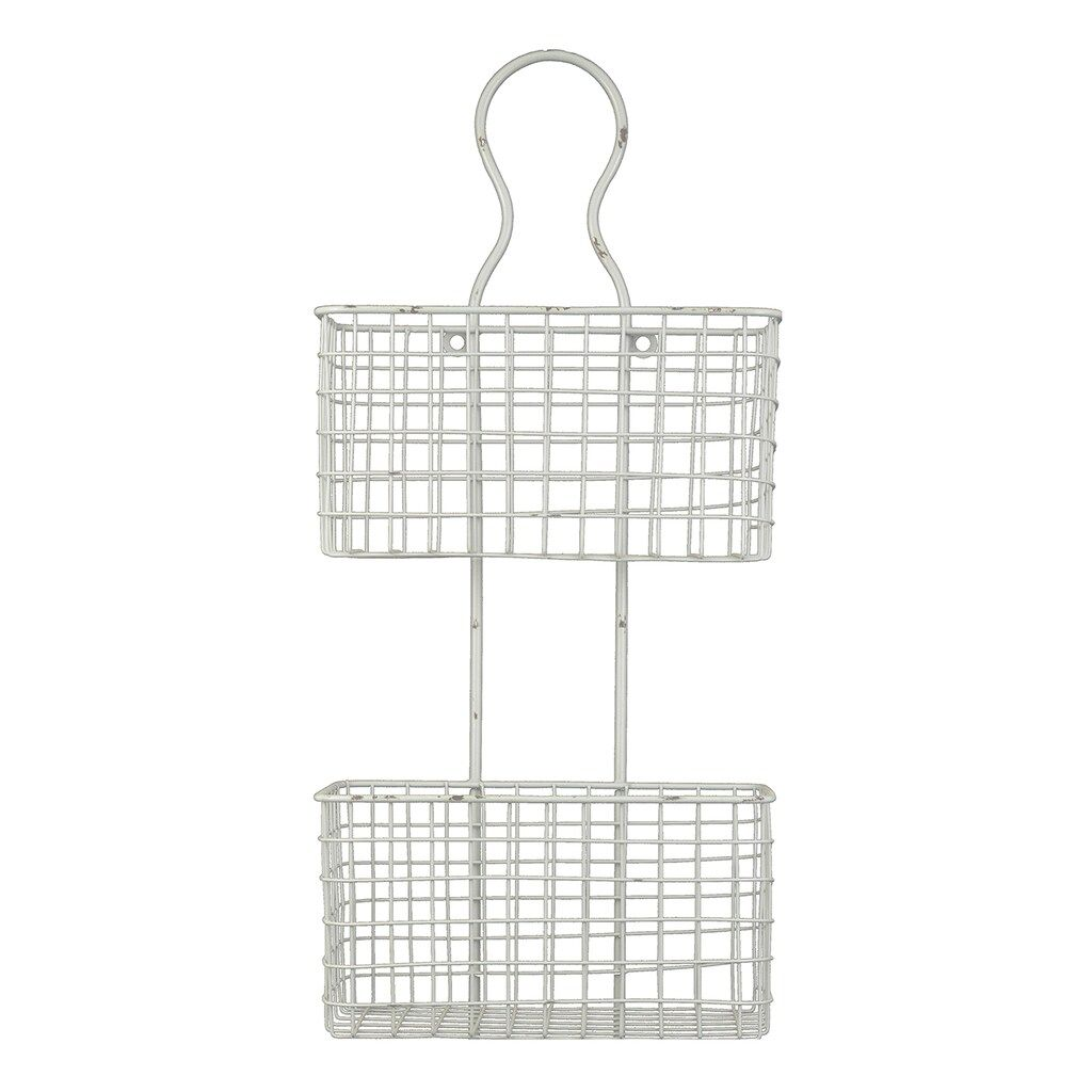 Distressed 2-Tier Wire Basket Wall Decor (With images