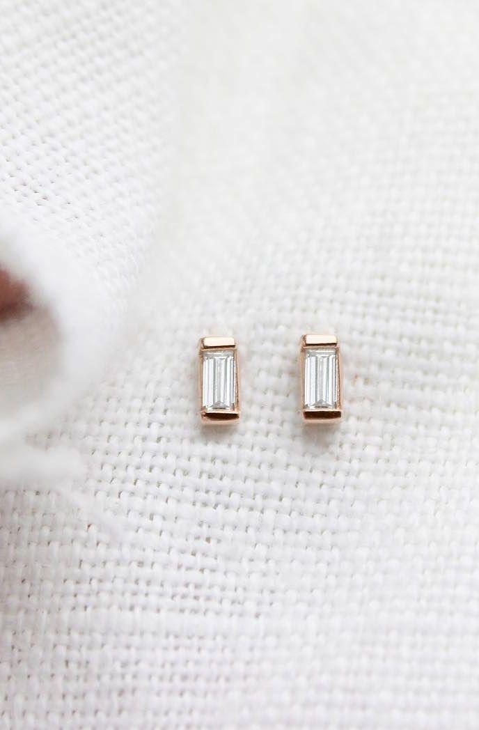 14k Rose Gold Baguette Earrings Vrai Oro