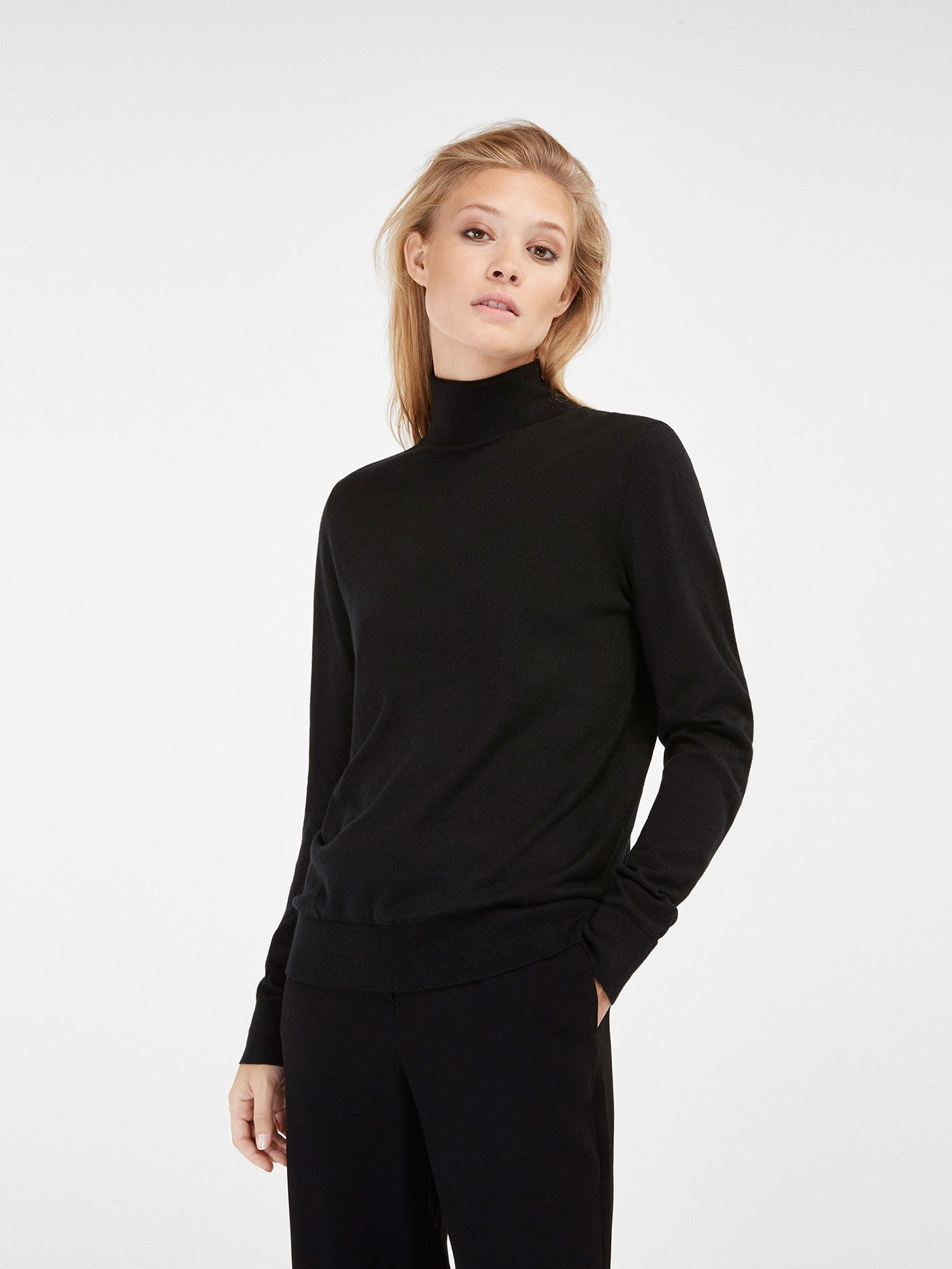 Massimo Dutti Cotton, Cashmere and Silk Blend Polo Neck | I-SPY ...