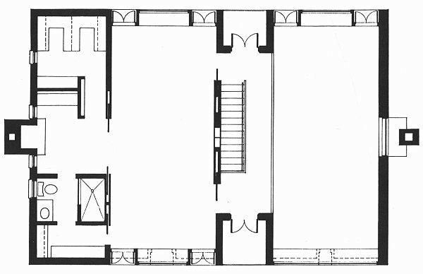 An Architectural Drawing Of Esherick House In The Great Buildings Online.