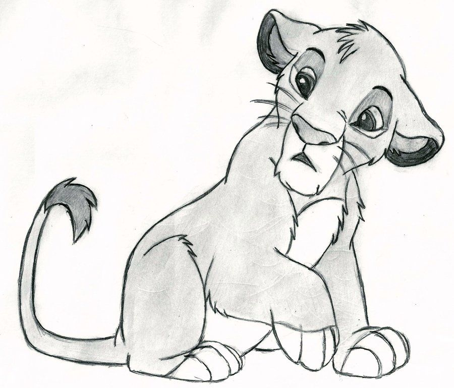 Classic pencil drawing of simba and nala from disneys the lion