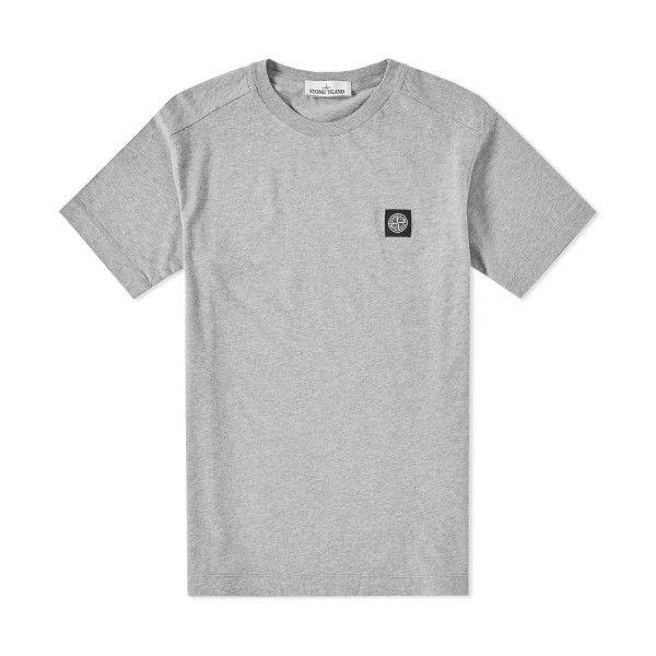 Stone Island Patch Logo Tee Grey Via Polyvore Featuring Tops T Shirts Logo Top Logo T Shirts Stone Island Top Gray Tees Et Gray Top