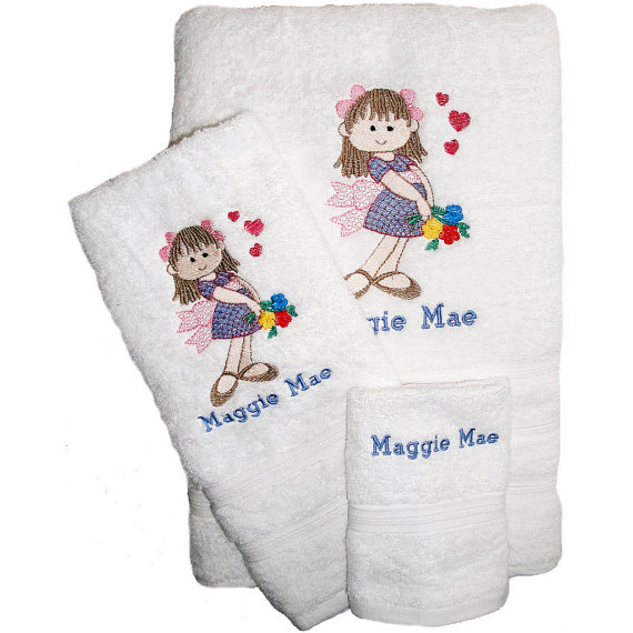 Embroidered Towels For Wedding Gift: Three Towel Set For Flowergirl Wedding Gift Custom