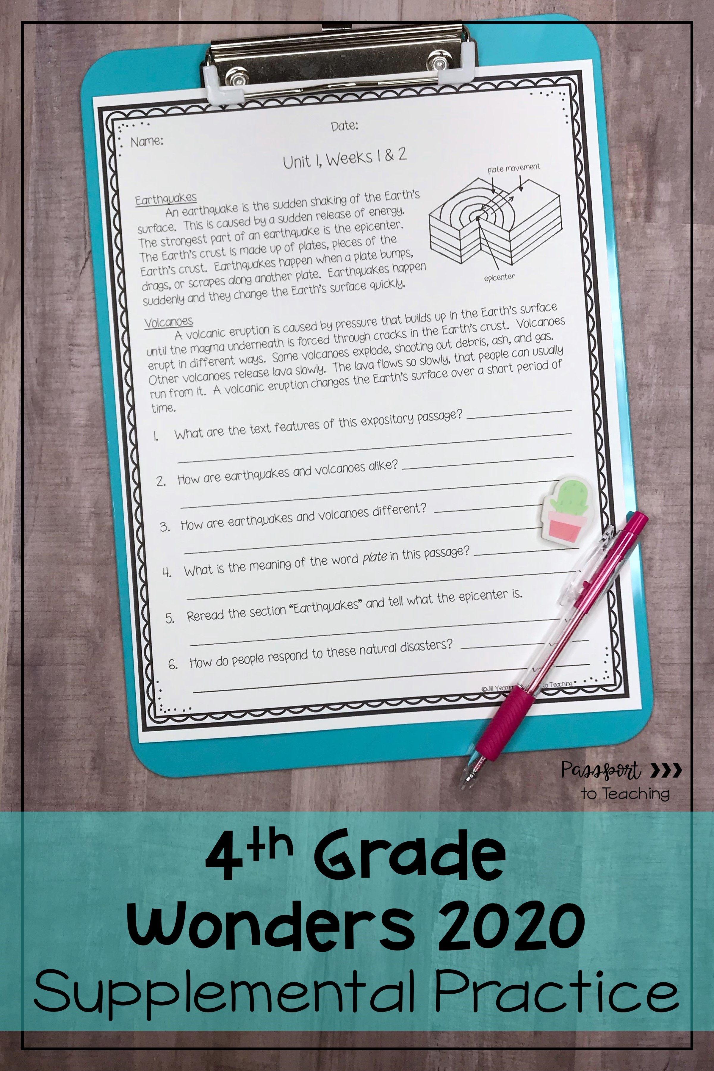 4th Grade Wonders Weekly Reading Worksheets Bundle