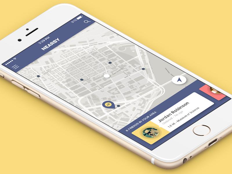 Nearby A Friend Location Tracker App, App map, Mobile