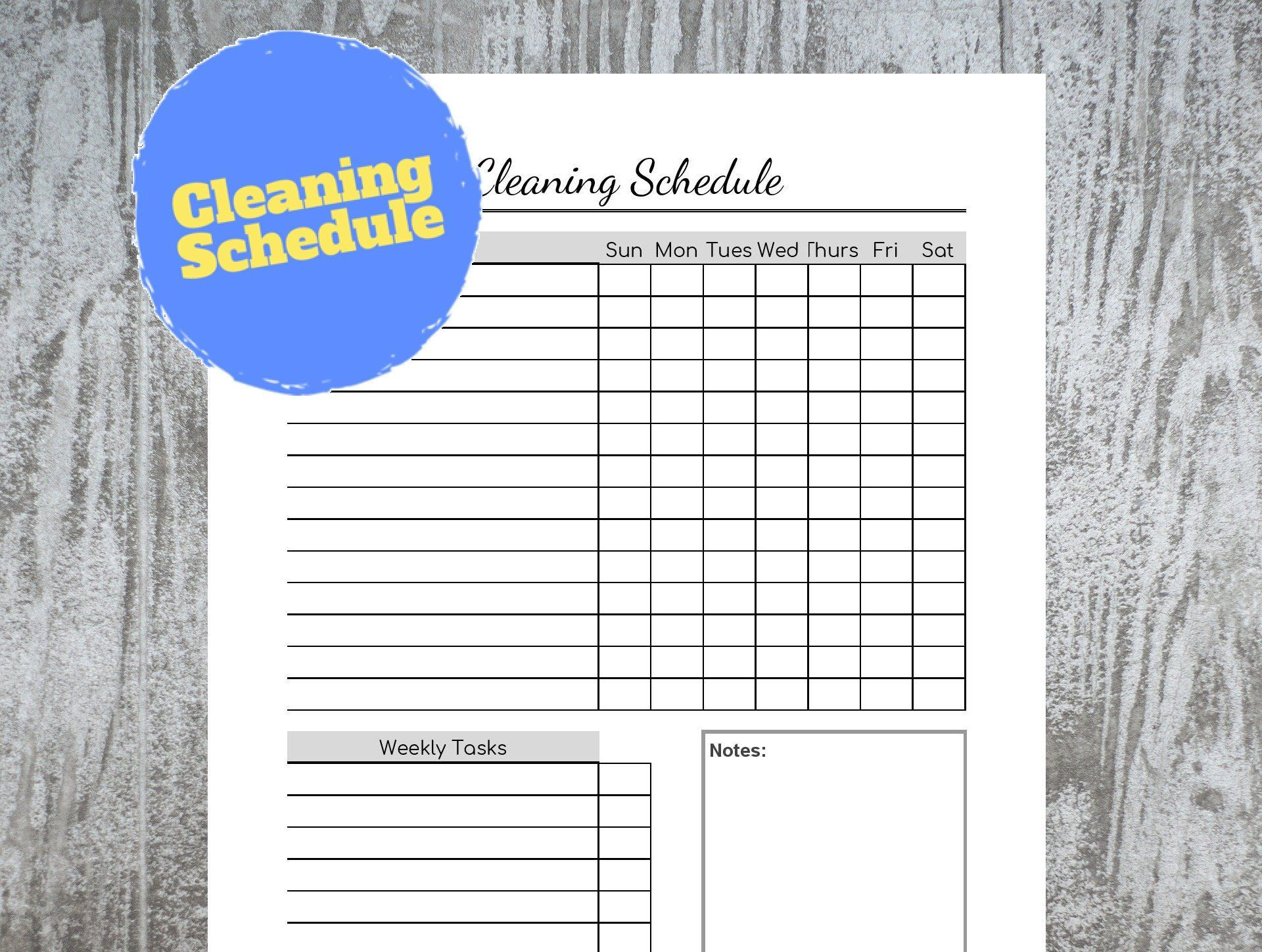 Cleaning Schedule Chore List Cleaning Checklist