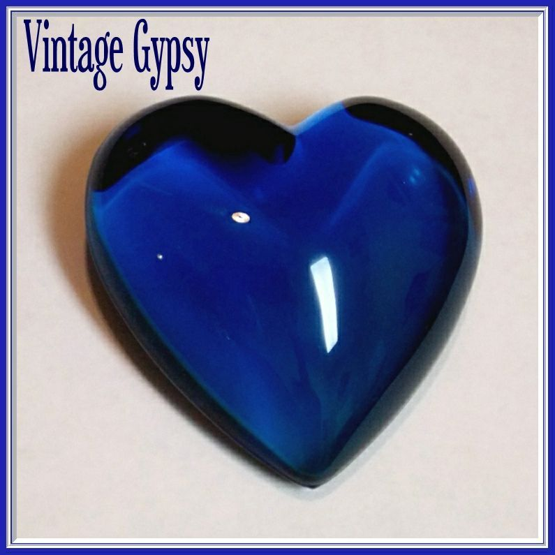 Vintage Blue Heart Paperweight