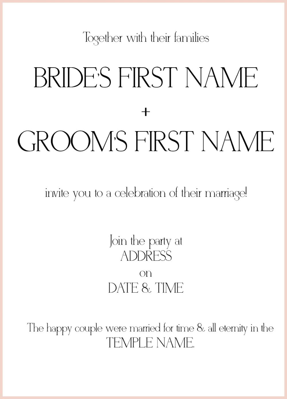8 Lds Wedding Invitation Wording Samples Lds Wedding In 2020 Wedding Invitation Etiquette Lds Wedding Invitations Wedding Reception Invitation Wording