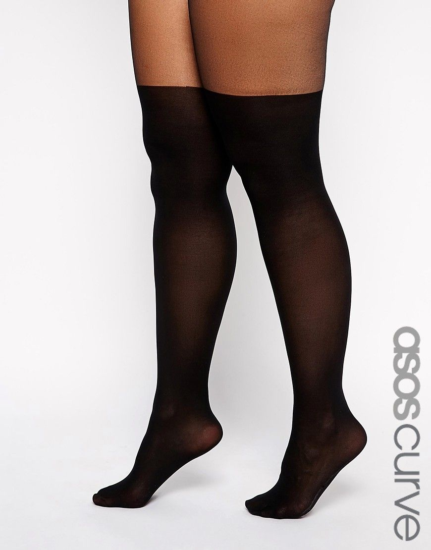 5a00666f6 Image 1 of ASOS CURVE Mock Over The Knee Tights With Support