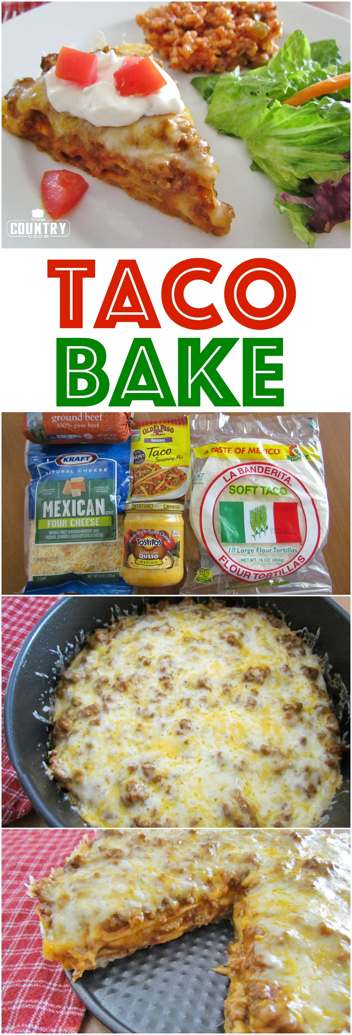 Taco Bake recipe from The Country Cook is so easy and SO yummy! Layers of seasoned ground beef, cheese and tortillas! My family goes nuts for this!