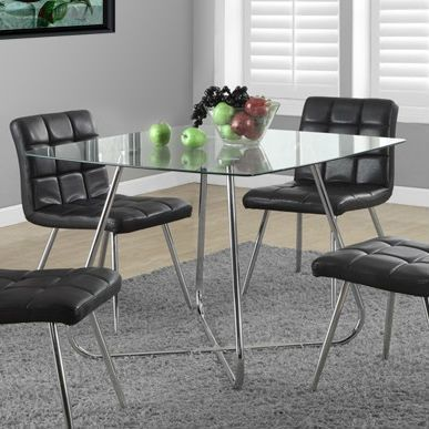 Modern Square Dining Table 40 X 40 Inch With Tempered Glass Top