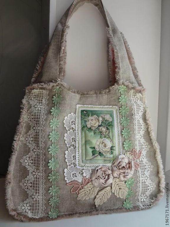 eb0c28a05bfb Женские сумки ручной работы. Ярмарка Мастеров - ручная работа. Купить сумка  Винтажный букет . Handmade. Серый, льняная сумка