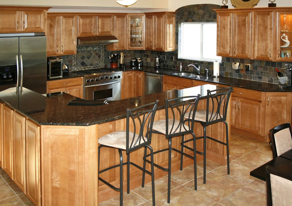 Kitchen Backsplash With Oak Cabinets slate tile backsplash ideas with oak cabinets | kitchen