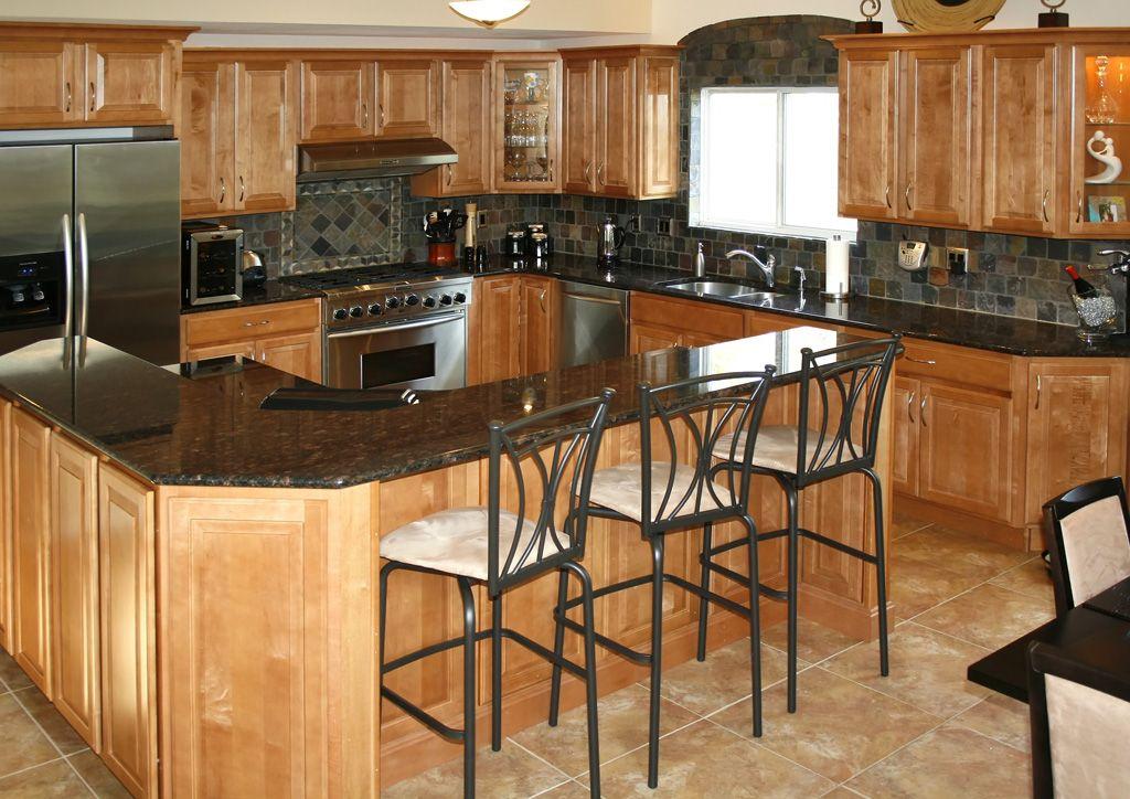 Kitchen Backsplash Ideas With Oak Cabinets slate tile backsplash ideas with oak cabinets | kitchen