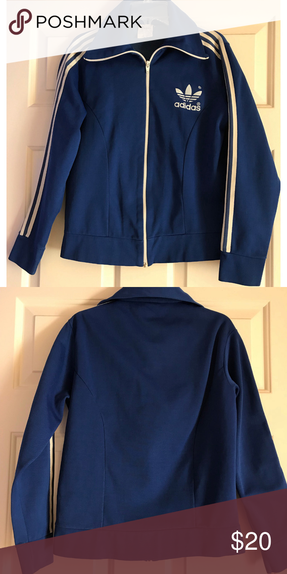 bf5e064e7091 Vintage Adidas Track Jacket, Size 2 Vintage Adidas logo athletic jacket  with front zipper, 3 stripes down arm length. Royal Blue and White. Size 2.
