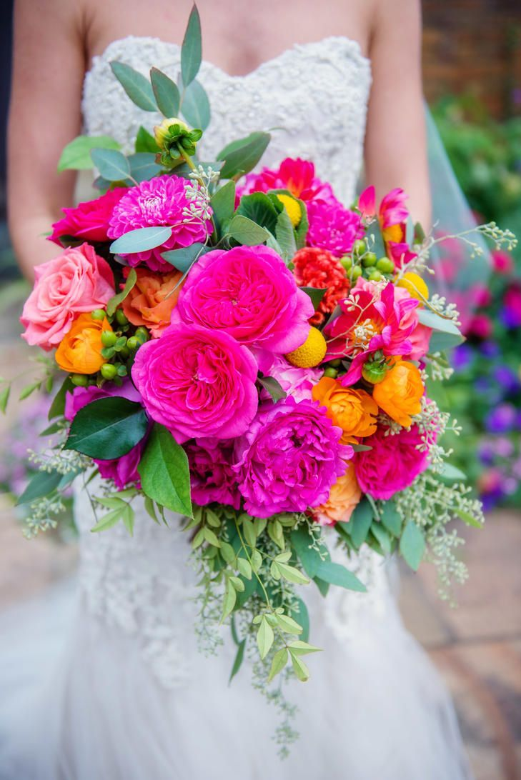 Coral Fuchsia Pink And Orange Bouquet Spring Wedding Bouquets Colorful Wedding Bouquet Spring Wedding Flowers