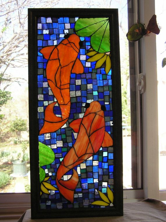 Koi Fish Stained Glass Panel Mosaic Style Water Is